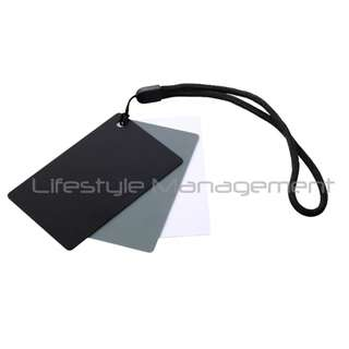 DSLR Camera White Balance Grey Card (18% Gray White and Black) Reference Calibration Sheet Pocket-Sized Set Colour Tools