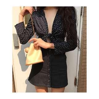 polka dot wrap blouse