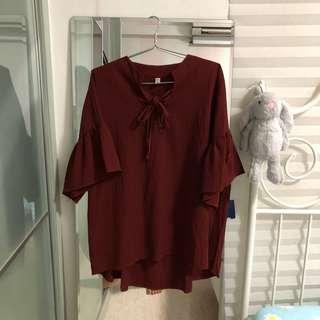 Ruffled Blouse Top (Plus Size 4XL)