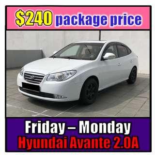 Fri to Mon Car Rental Hyundai Avante 2.0A (3-Day Weekend Package)