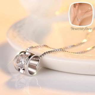 PROMO✨NKLL-020 • S925 Silver Simple Love Crystal Necklace