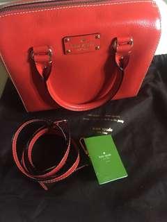 Kate Spade Wallesley Alessa Leather Satchel in Red