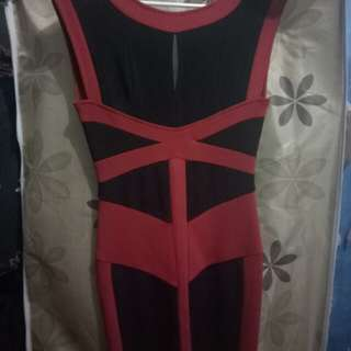 Red black line bodycon dress
