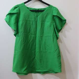 Green Ruffles Sleeve Blouse