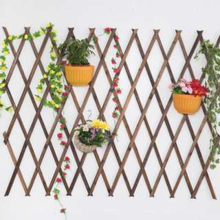 Carbonized Antiseptic wood fence climbing rattan wood fence grid hanging wall flower racks interior balcony small decorative fence thickened garden