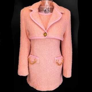 法國品牌Saint André粉色純羊毛長袖短版毛呢外套 義大利製