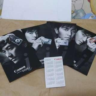 鄭伊健 canon digital camera ixus dc 明信片4張連月曆卡2004