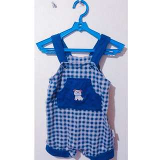 Checkered Overall Playsuit for infant boys