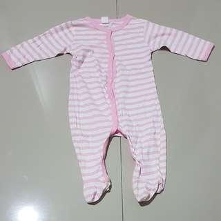 "Sleepsuits garis"" pink... baby girl 12 months"