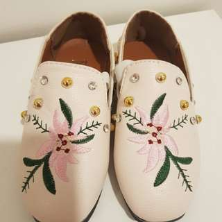 Toddler Shoe with Flower Embroidery & Studs