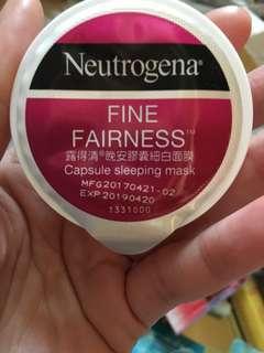 Neutrogena fine fairness 露得清 sleeping mask 晚間亮白面膜x1