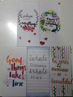 Simple calligraphy bookmarks