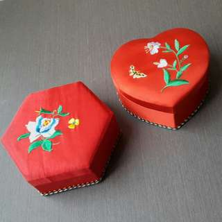 Embroidered Satin Trinket Box