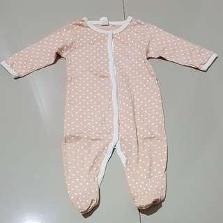 Sleepsuits polkadot peach...baby girl 12 months