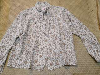 floral polo blouse
