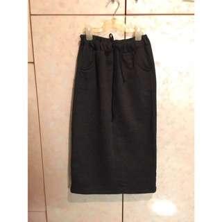 棉質綁帶窄裙(深灰)