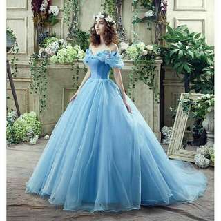 Readystock blue off shoulder cinderella cosplay costume wedding bridal gown photoshoot dinner prom dress