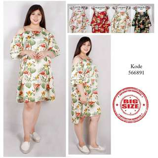 BAJU BIGSIZE MURAH - DRESS FLAMINGO AMI JUMBO (566-891)