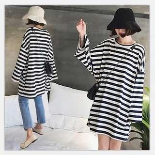 (XL~4XL) 2018 Spring Fashion Loose Long Striped Long Sleeve Dress