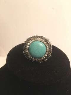 Vintage Large turquoise stone & Rhinestones ring