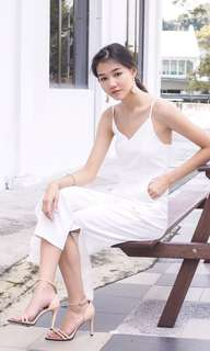 3inute Elspeth Simple Slit Jumpsuit in White (Size M)