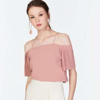 The Closet Lover Pleated Sleeve Top (dusty pink)