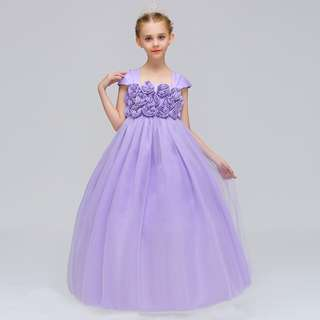 Elegant Unique Shoulder Rose Flowers Long Gown Dress Purple