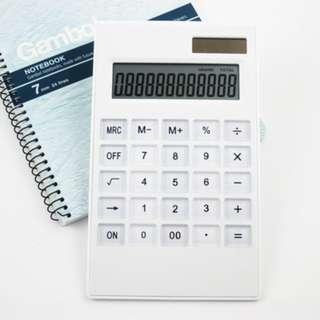 12 Digit White Desk Calculator (solar energy)