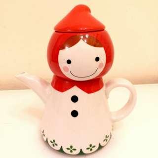 全新紅帽子茶壺套裝