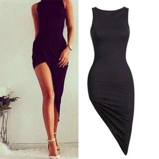 Black Bodycon Asymmetrical Dress