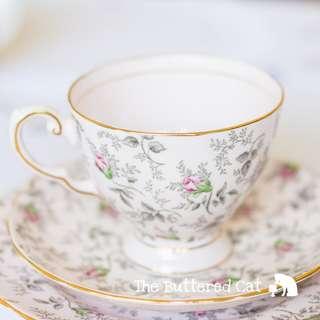 Sweet vintage pink Tuscan tea trio, ditsy rose chintz