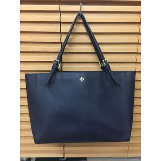 Tory Burch Large Double Handles Tote (Navy Blue)