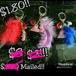 Clearance sale @1.80 mailed!!!  Handmade feathers hang bag!!