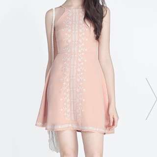 Nude Pink Embroidered Dress