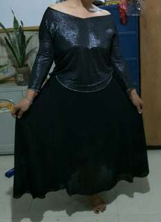 Black gown skirt and blouse