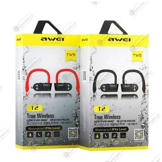IPX4 Waterproof Superbass Wireless Earpiece Earphone Earbuds Headset Awei T2