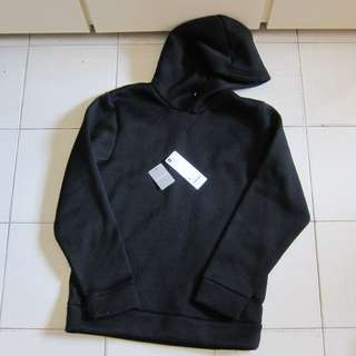 80%New(面交/順豐)GU Knit Fleece Hoodie Black黑色有帽衛衣hoodies uniqlo