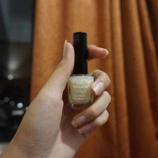 Gel touch nails (base coat dan white shine glitter wh002)