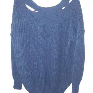 OFFER! Blue Knitted Crossback Sweater/Jumper