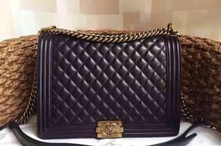 Chanel Large Boy Flap Shoulder Bag Black Lambskin Leather with Golden Hardware