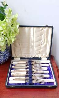 Vintage silver plated cutlery with bone handle.