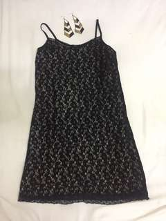 Dress brokat hitam