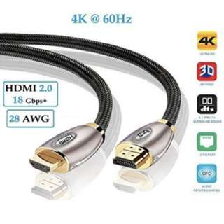 HDMI Cable 2M High Speed PRO GOLD HDMI Cable v2.0/1.4a 3D 2160p PS4 SKY HD 4K@60Hz Ultra HD Ethernet Audio Return Virgin BT - IBRA RED