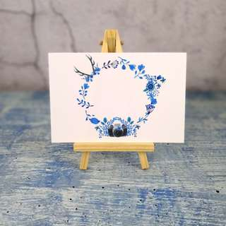 藍色紙膠帶花環卡 Blue Washi Wreath Card