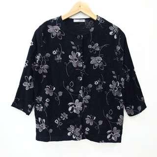 Kemeja Blouse Floral Black Vintage