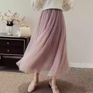 網紗半身裙💃2018新品中長款釘珠蕾絲網紗篷篷長裙