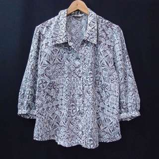 Kemeja Blouse Batik Vintage Grey Brown Longsleeves