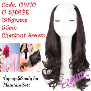 U shape Hair Extensions Wavy Natural Clip on Chestnut Brown