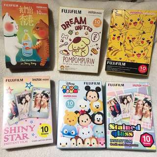 Fujifilm instax Polaroid 卡通即影即有相紙 比卡超Pokemon, Sanrio pompompurin 布甸狗, Disney tsum tsum, 我們的香港, star, stained glass