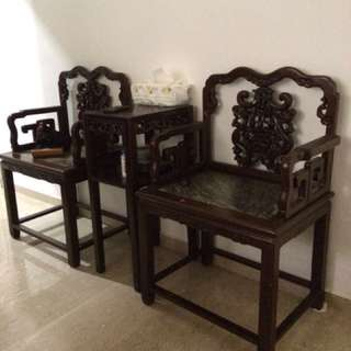Black Wood Chair and Table set